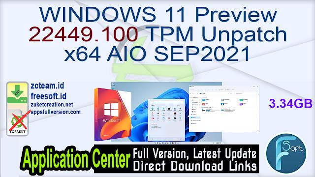 WINDOWS 11 Preview 22449.100 TPM Unpatch x64 AIO SEP2021