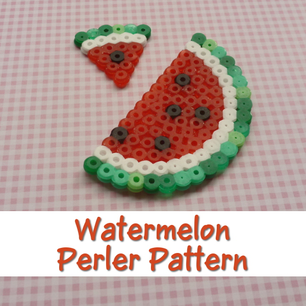 Watermelon Perler Beads Pattern Instructions Full Tutorial on CraftyMarie Summer Fruit Craft Crafts