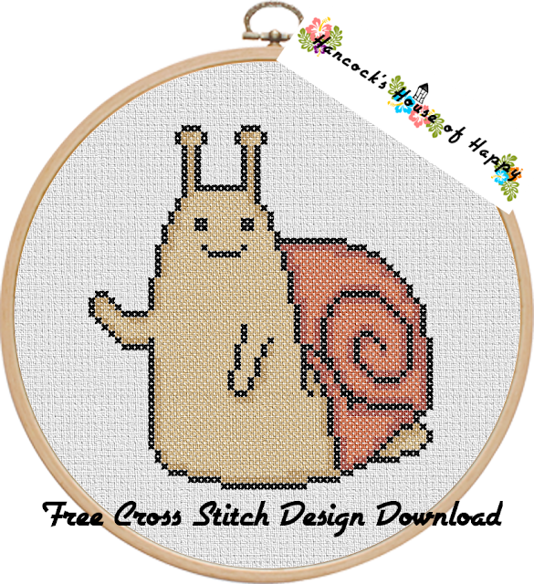 Hooray for Snail! Happy Snail Cross Stitch Pattern Free to Download