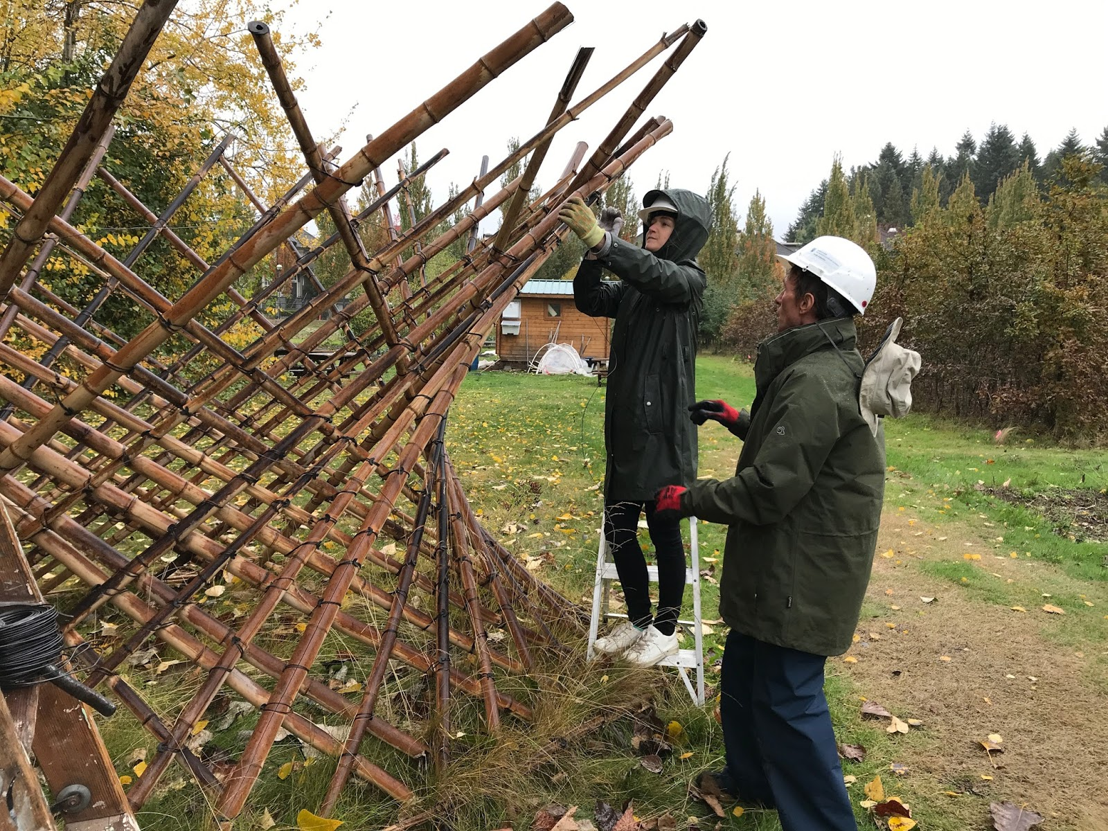 The Orchard Garden: Completing the installation of Hyperboloid Gate #2