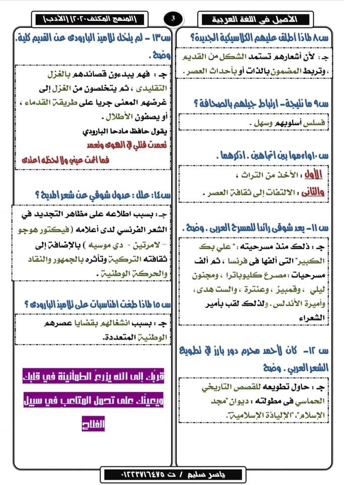تلخيص الأدب في ١٠ ورقات لثالثة ثانوي وأهم الأسئلة المتوقعة في٢٠٢٠ أ/ ياسر سليم 14