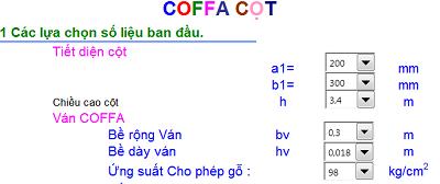 File excel tính coffa Dầm - Sàn mái - Cột-2