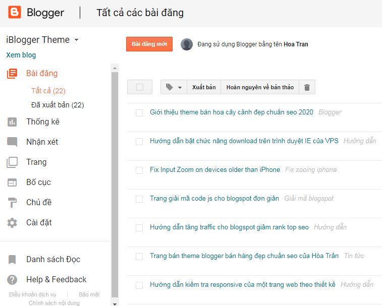 Giới thiệu chức năng từng mục của blogger