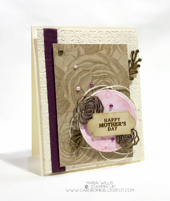 March 2018 Paper Pumpkin Kit: May Good Things Grow, Maria Willis, Cardbomb, Stampin' Up!, cards, stamping, ink, paper, paper craft, creative, craft, heat emboss, #vintage, gold, paper pumpkin alternate, watercolor, technique, roses,