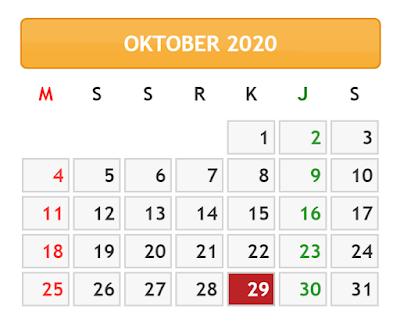 kalender bulan oktober tahun 2020 lengkap dengan daftar hari libur dan cuti bersama