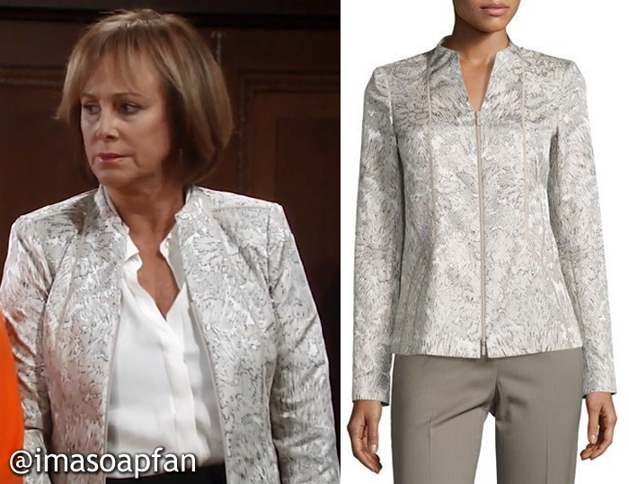 Nora Buchanan, Hillary B. Smith, Grey Floral Jacquard Jacket, Lafayette 148 New York, GH, General Hospital