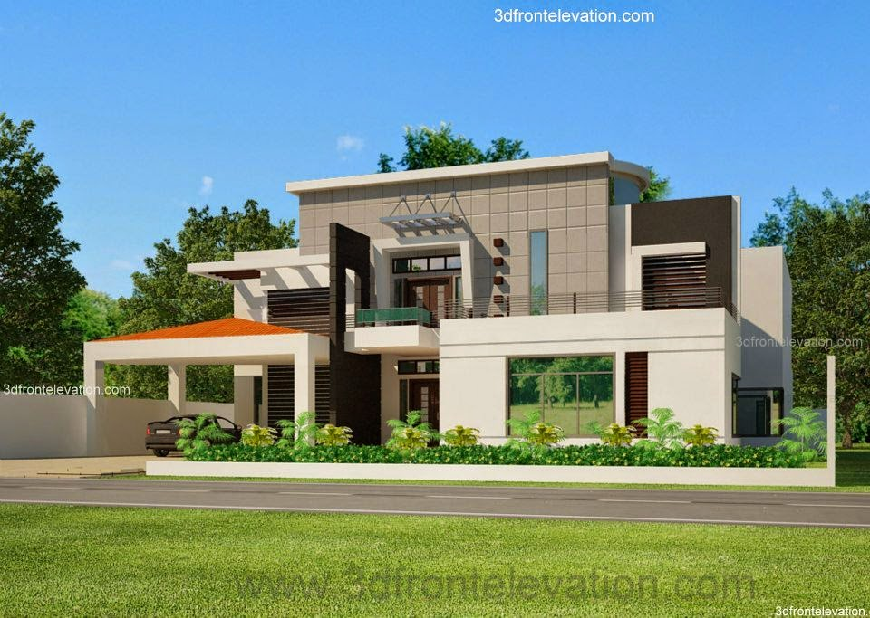 3d front portfolio for House elevation for three floors building
