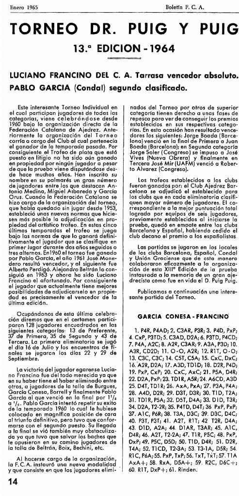 Página l4 del Boletín de la Federación Catalana de Ajedrez, enero 1965