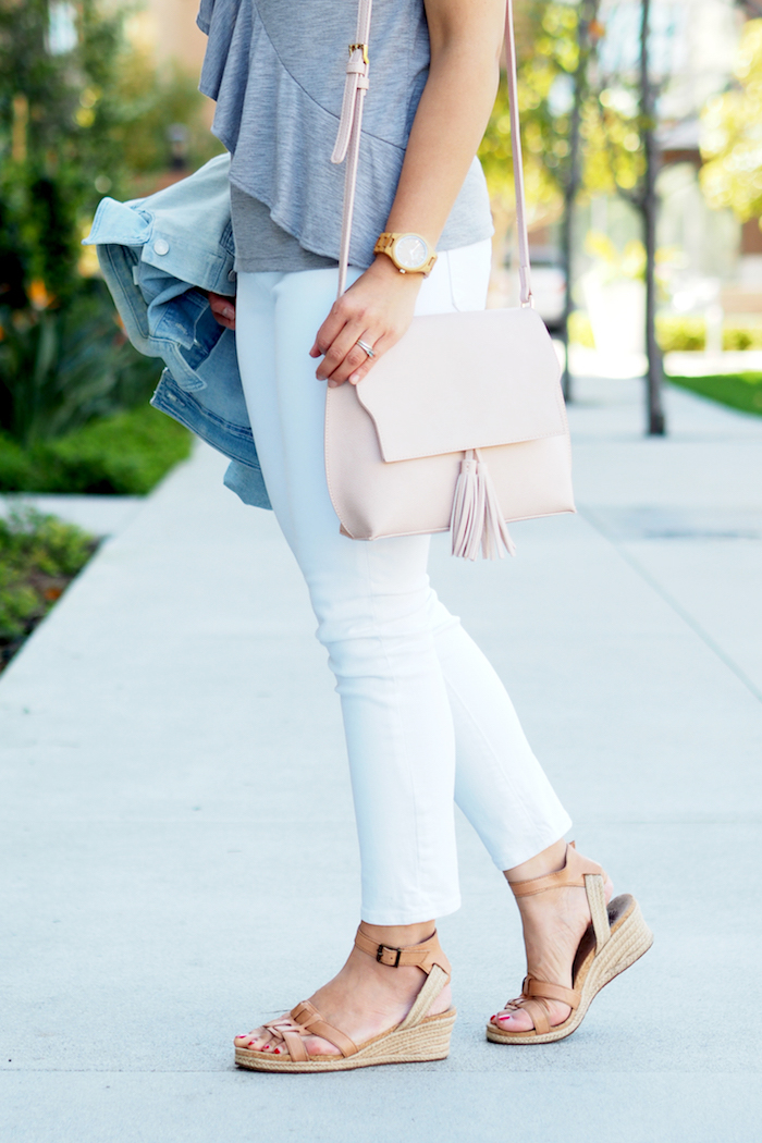 grey tee + denim jacket + white jeans