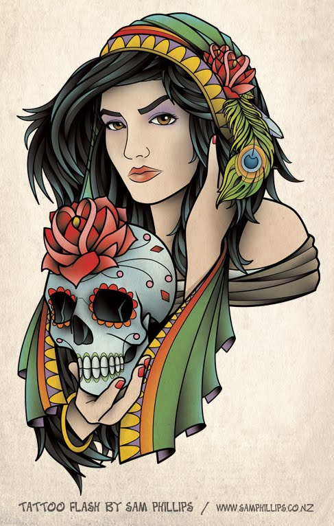 Girl Tattoo Flash  Girl Tattoo Fla...