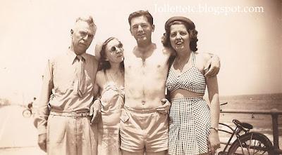 Lillie Killeen and friends June 1944 Virginia Beach https://jollettetc.blogspot.com