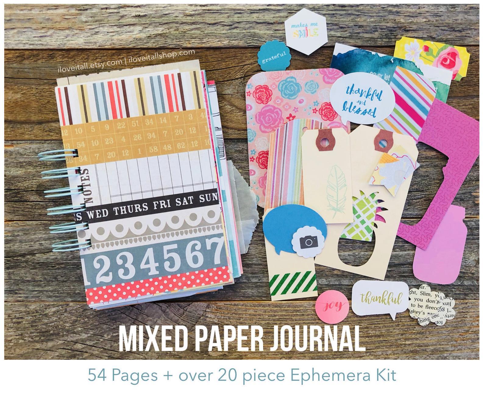 #gratitdue journal #gratitude #Journal #mindfulness #mixed paper journal #junk journal #smash book #smashbook #iloveitallshop