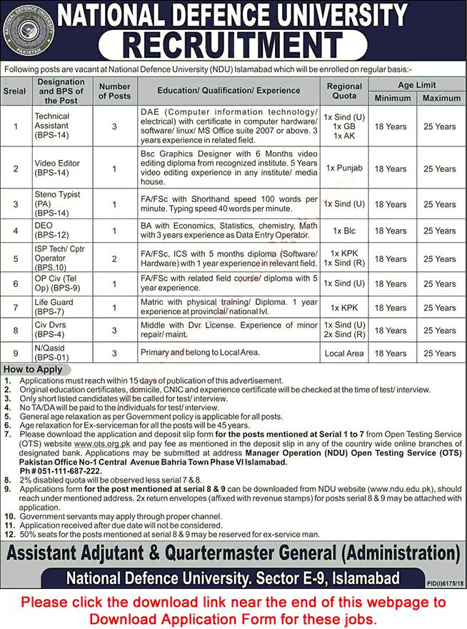 National Defence University Islamabad Jobs