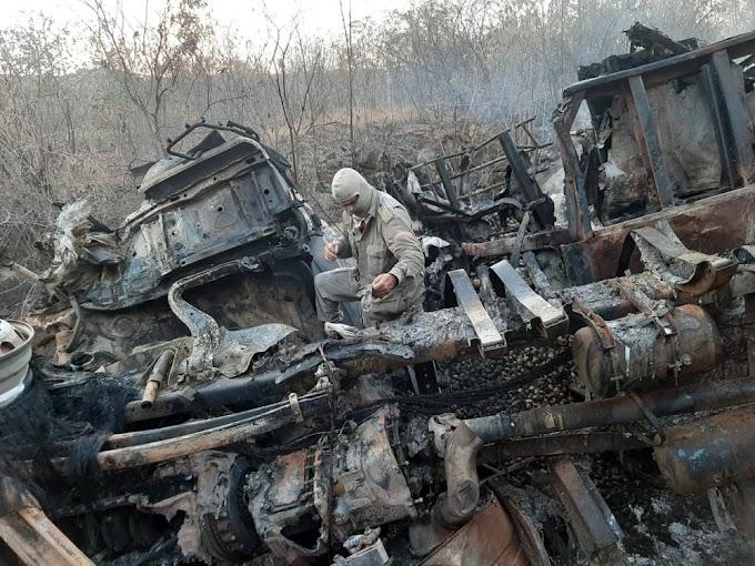 Caminhões pegam fogo após colisão, e condutores morrem na BR-116, no interior do Ceará