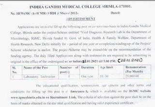 IGMC Recruitment 2021-01 Laboratory Technician Posts