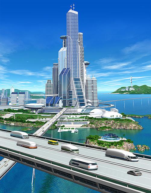 リアルイラスト、3DCG、俯瞰、スマートシティ、近未来都市、SF