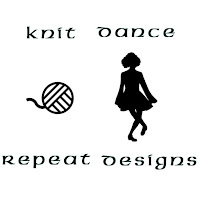 "Black on white: The logo is in three sections. The top section is the words ""Knit Dance"". The center section is the image of a stylized ball of yarn and the silhouette image of an Irish dancer. The bottom section is the words ""Repeat Designs""."