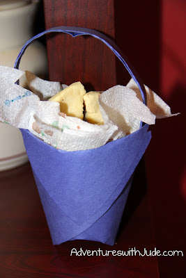 Purim Mishloach Manot basket filled with Hamentashen
