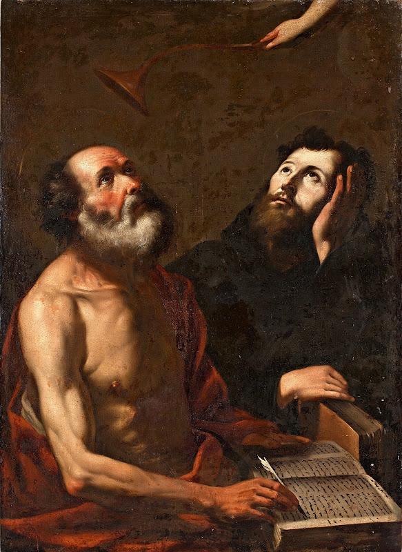 Gregorio Preti - Tillskriven den helige hieronymus och den helige mauro