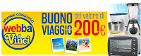 Logo Concorso ''Webba e vinci': in palio 132 elettrodomestici e 50 buoni viaggio da 200 euro