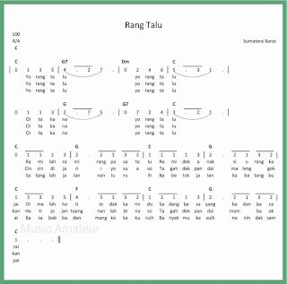 not angka lagu rang talu lagu daerah sumatera barat