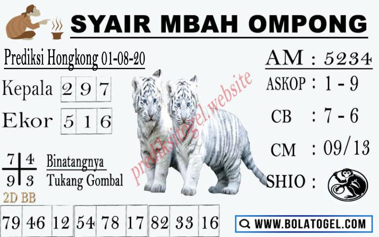 syair hk mbah ompong 1 agustus 2020