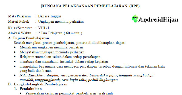 RPP Daring Kelas 8 SMP/MTS Bahasa Inggris KD 3, RPP 1 halaman kurikulum 2013 revisi 2020 bahasa inggris kd 3