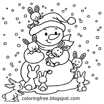 Frosty world cute baby rabbit family white snow winter snowman coloring book pages for teenage girls