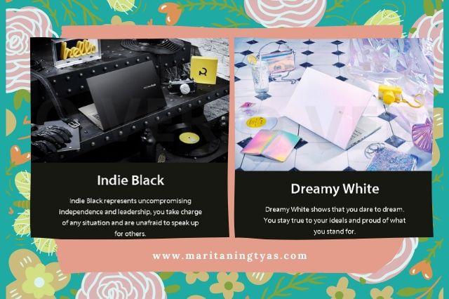 filosofi warna indie black dan dreamy white asus vivobook