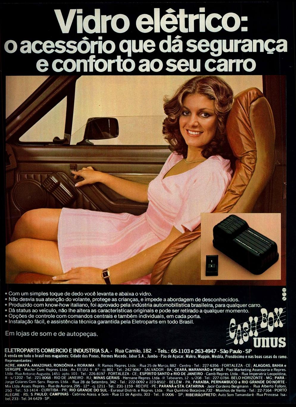 Anúncio promovia o vidro elétrico em automóveis no ano de 1979