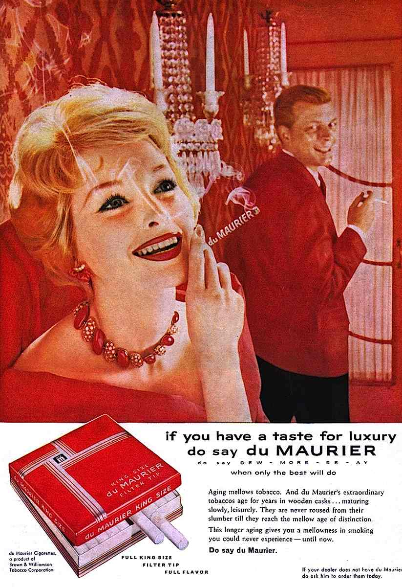 1960s Du Maurier ad in red