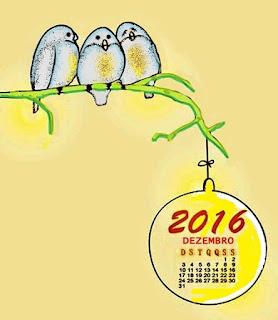 Desenho: Três aves empoleiradas, calendário, dezembro de 2016, pendurado emm galho de árvore.