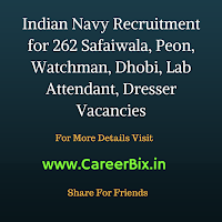 Indian Navy Recruitment for 262 Safaiwala, Peon, Watchman, Dhobi, Lab Attendant, Dresser Vacancies