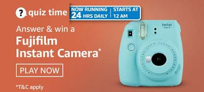 Amazon quiz answers today for 8th April 2021 & Win Fujifilm Instant Camera