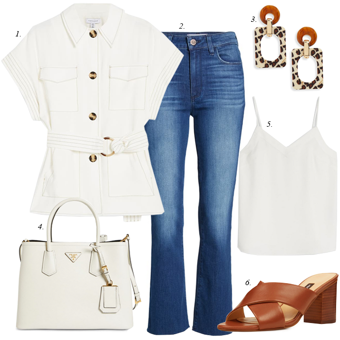 white blazer white tote crop flare jeans summer outfit
