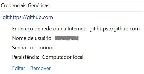 credenciais genéricas do GitHub