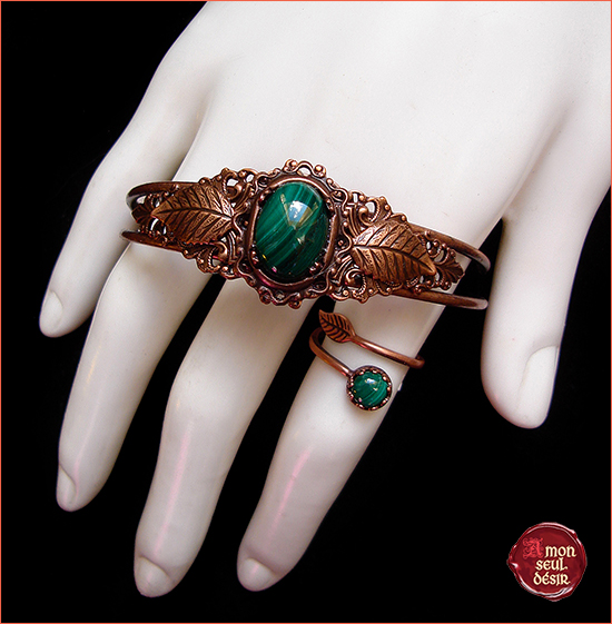 malachite pierre verte parure de bijoux cuivre copper jewelry set crystal green gemstone