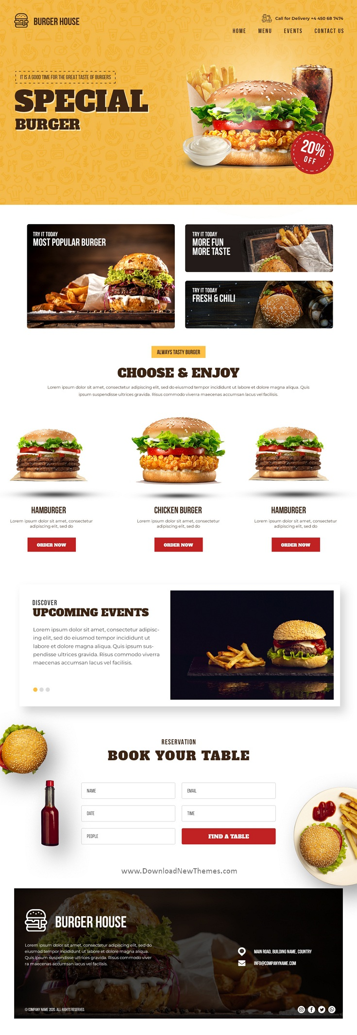 Fast Food & Restaurant Landing Page Template