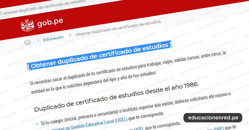 TRÁMITES MINEDU: Sepa cómo obtener duplicado de Certificado de Estudios - www.minedu.gob.pe
