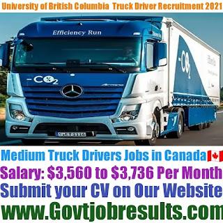 University of British Columbia Medium Truck Driver Recruitment 2021-22