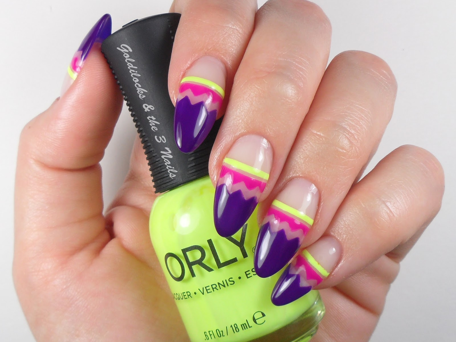 Goldilocks The Three Nails Neon Negative Space Easter