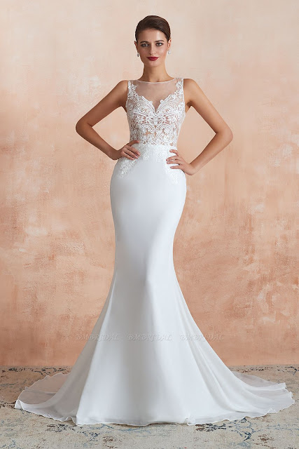 Beautiful White Lace Chiffon Mermaid Wedding Dress