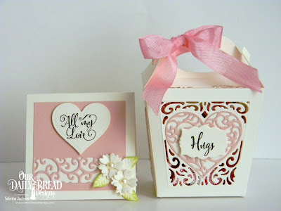Our Daily Bread Designs Stamp Set: Let Love Grow, Custom Dies: Glorious Gable Box, Layering Hearts, Heavenly Hearts, Mini Label, Bitty Blossoms