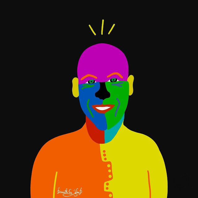 a self portrait of derrick g wood with bright colors and black background