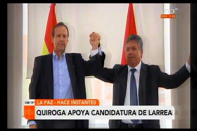 Tuto Quiroga otorga todo su apoyo y conocimiento político al candidato a alcalde Dr. Luis Larrea