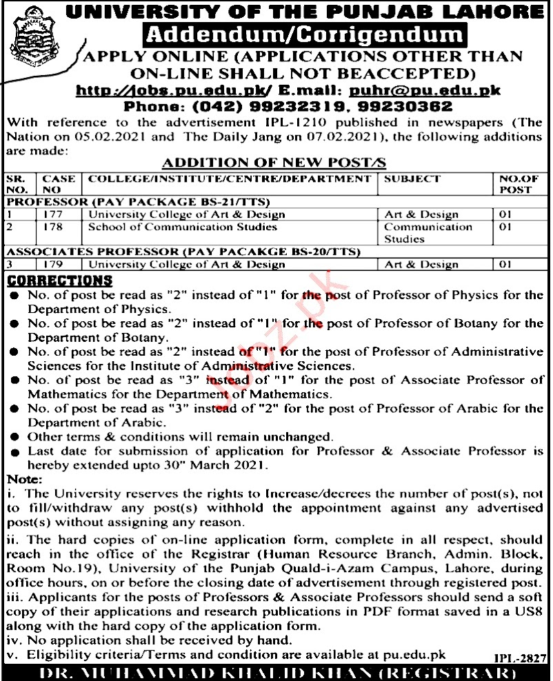 Latest Jobs in Punjab University Lahore PU -2021-Download Application Form