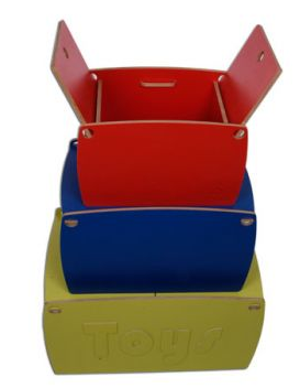 toy boxes, three sizes, stacked, bright colors