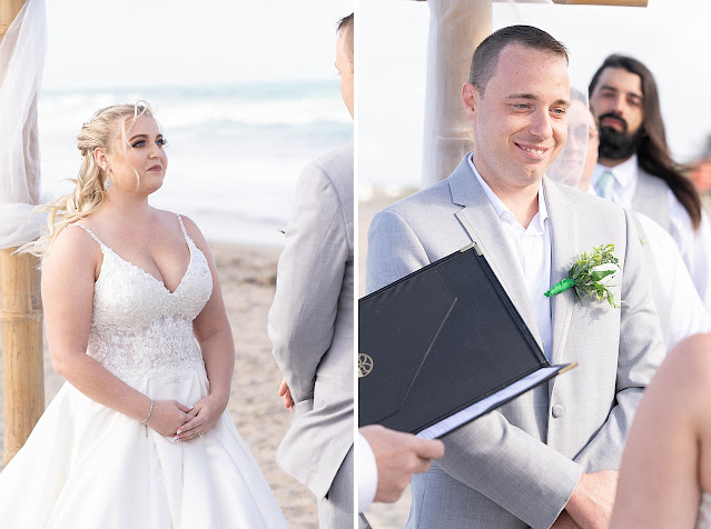 Portraits of Bride and Groom looking at each other