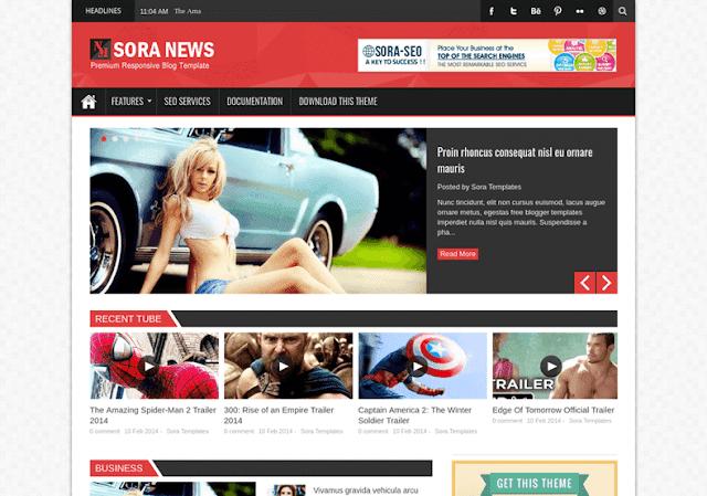 Sora News Responsive mobile friendly blogger template