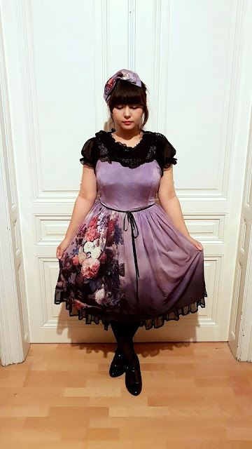 the purple dress is from the polish brand lady sloth in a casual lolita fashion egl community jfashion